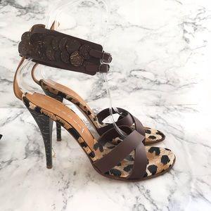 Casadei Leopard Ankle Strap Heels